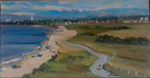 Hengistbury Head, looking west. Oil 12x6ins.£750 resized