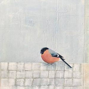 Jane Skingley, Bullfinch, oil on board, 30x30cm