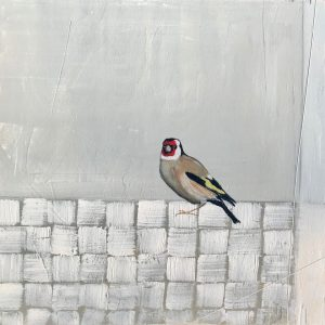 Jane Skingley, Goldfinch, oil on board, 30x30cm