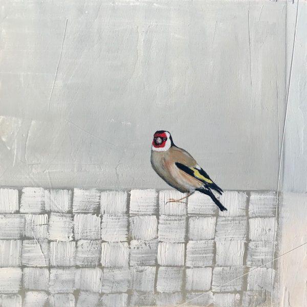 Jane Skingley, Goldfinch, oil on board, 30x30cm