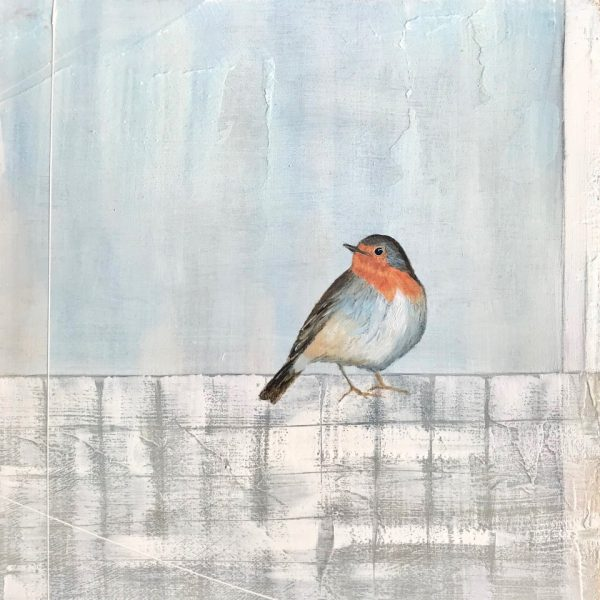 Jane Skingley, Robin, oil on board, 30x30cm