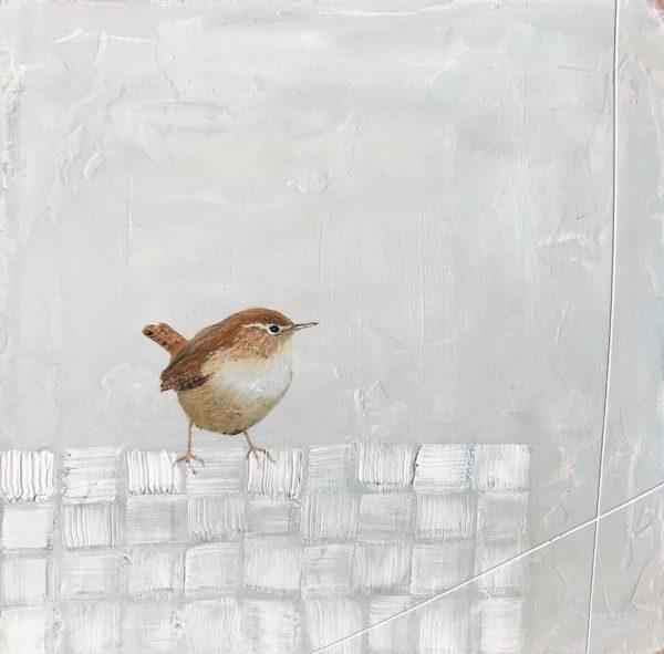 Jane Skingley, Wren, oil on board, 30x30cm
