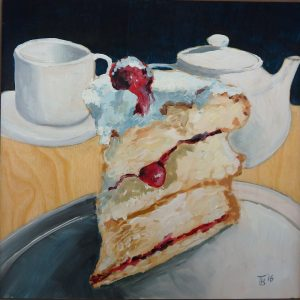 Strawberry gateau and Tea 20x20 cm