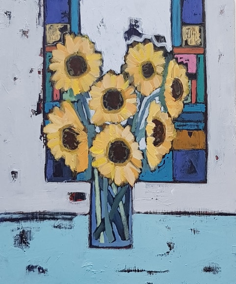 Sunflowers and stained glass 26 x 31 cms