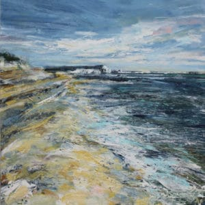 Hengistbury Head 30x30cm mixed media on canvas framed