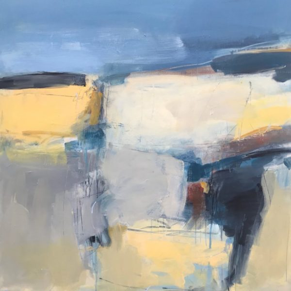 Yellow Landscape 80x80cm oil + mixed media on canvas Gall P £1,800