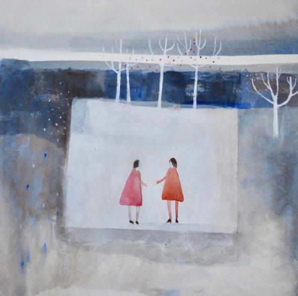 Julie Collins The Gift, 73x71cm, image size 45x41cm, acrylic& watercolour £1350