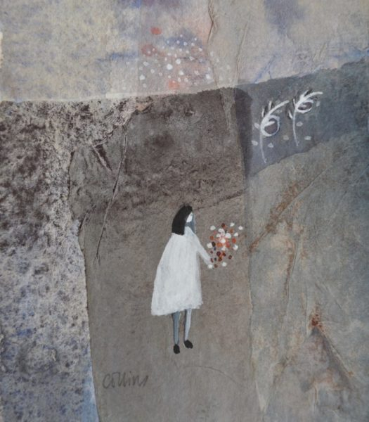Julie Collins, Eulalia, frame size 30x30cm, image size 12x12cm, acrylic & watercolour, £425