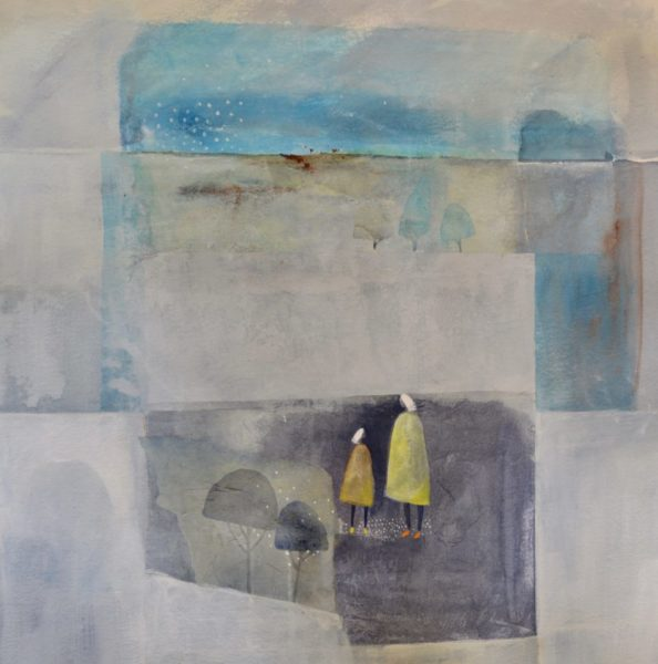 Julie Collins Two yellow coats, 73x73cm, acrylic&watercolour, £1450