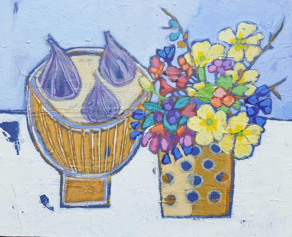 Figs and spring flowers 26 x 20 cms