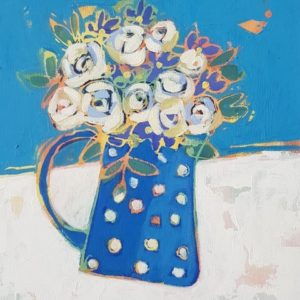 Roses in a spotty jug 20 x 26 cms