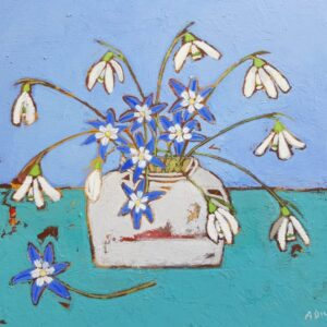 Snowdrops and blue flowers 26 x 20 cms