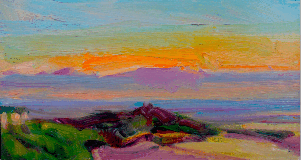 View from Sutton Bank, Yorkshire sunset. 16 x 9ins. £1,250 Oil on board