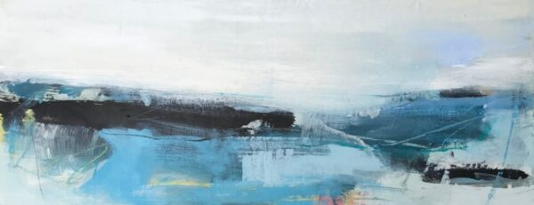 Shifting Blue, 20cm x 50cm, mixed media on canvas