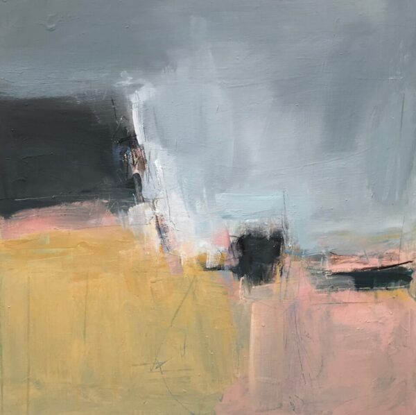 Pink Landscape II, 61cm x 61cm, charcoal and acrylic on canvas
